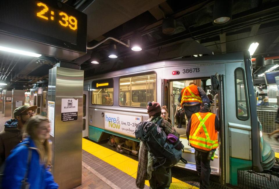 The last Green Line train to Lechmere arrived at Park Street Station at 2:39 a.m. during the first night of the MBTA's late-night service.