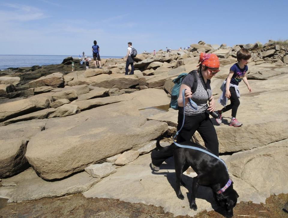 Gabrielle Garschina-Bobrow walked with her dog Paloma and daughter Luna Garschina-Bobrow, 7, at Halibut Point State Park in Rockport.