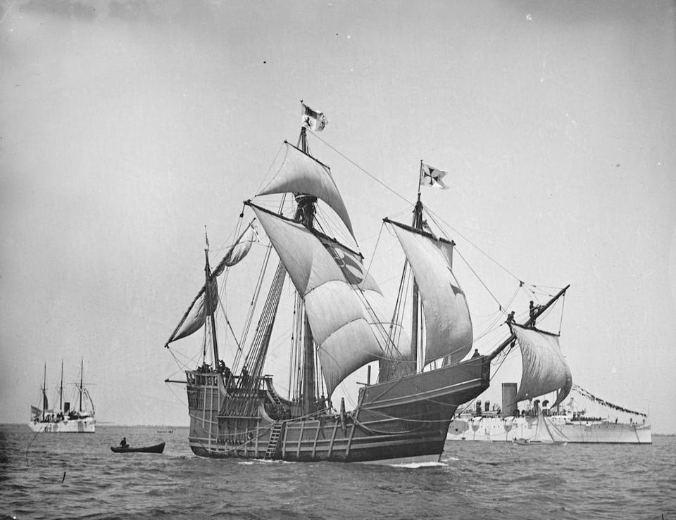 A replica of Christopher Columbus's Santa Maria in a circa 1892 t photo provided by the United States Library of Congress.