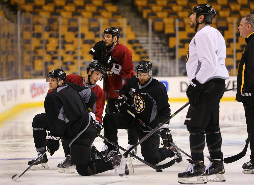 The Bruins regrouped at practice Tuesday, with the biggest game of the season (so far) coming up Wednesday.  John Tlumacki/Globe Staff