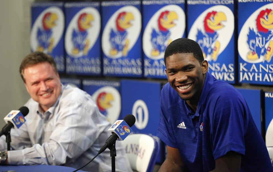 Joel Embiid, right, could be one of the top selections in the NBA draft.