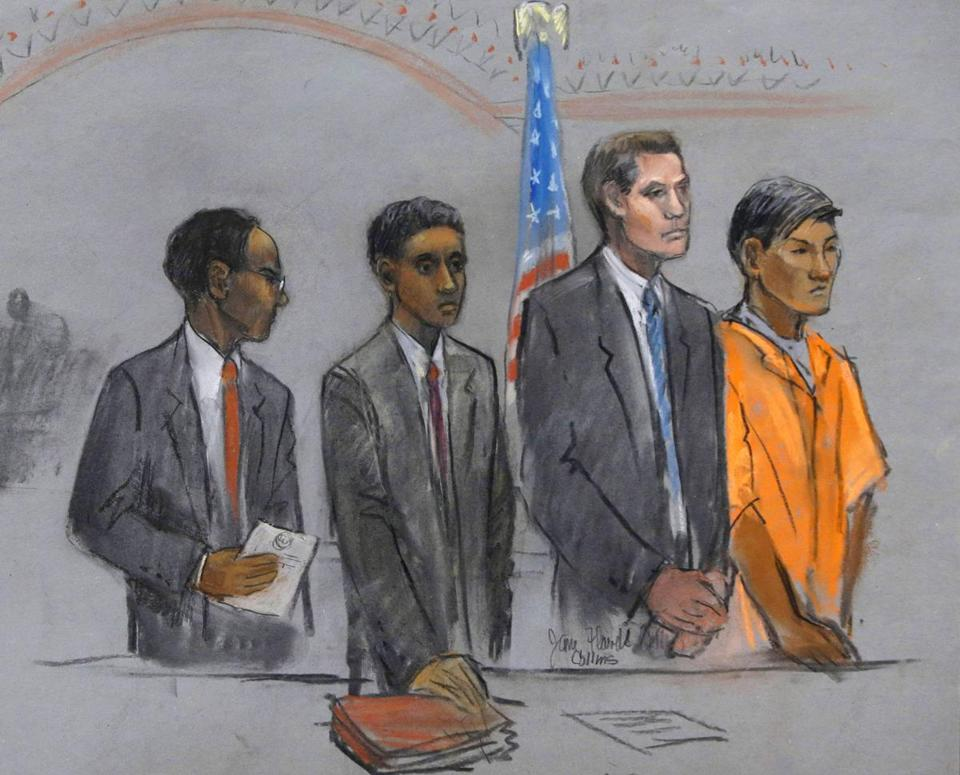 In this September courtroom sketch, defendants Robel Phillipos, second from left, and Dias Kadyrbayev, right, college friends of Boston Marathon bombing suspect Dzhokhar Tsarnaev, stand for arraignment with their attorneys.