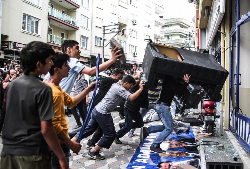 Protesters attacked the Soma offices of Prime Minister Recep Tayyip Erdogan's Justice and Development Party in Soma, Turkey.