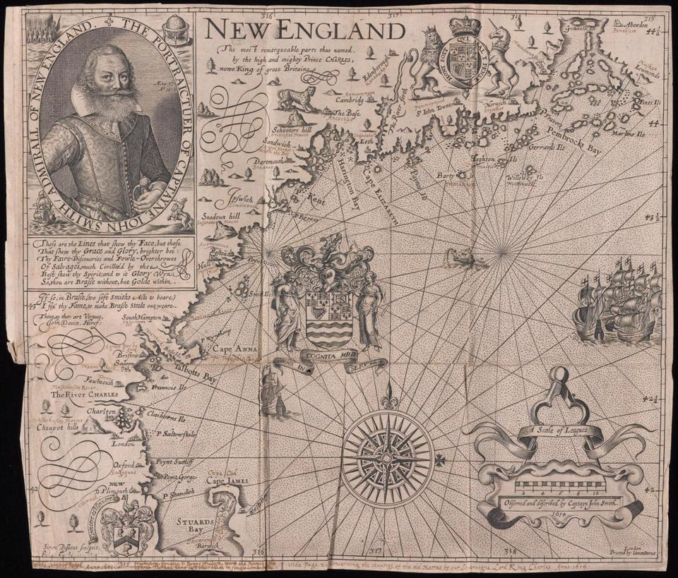 At Yale, Smiley pocketed this map of John Smith's New England from a 1631 book.