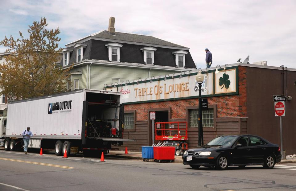 "The former, and famous, Triple O's Lounge in South Boston has been made over in Cambridge near Inman Square for the filming of the Whitey Bulger movie ""Black Mass."""