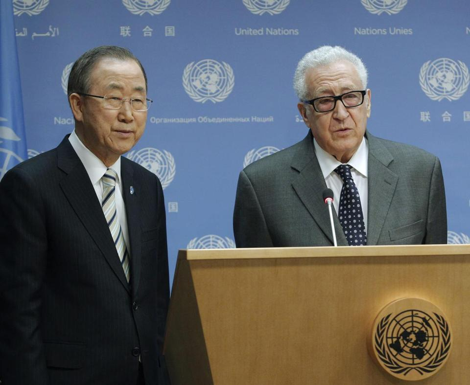 Special envoy Lakhdar Brahimi (right) announced his exit, with UN Secretary General Ban Ki-moon at his side.