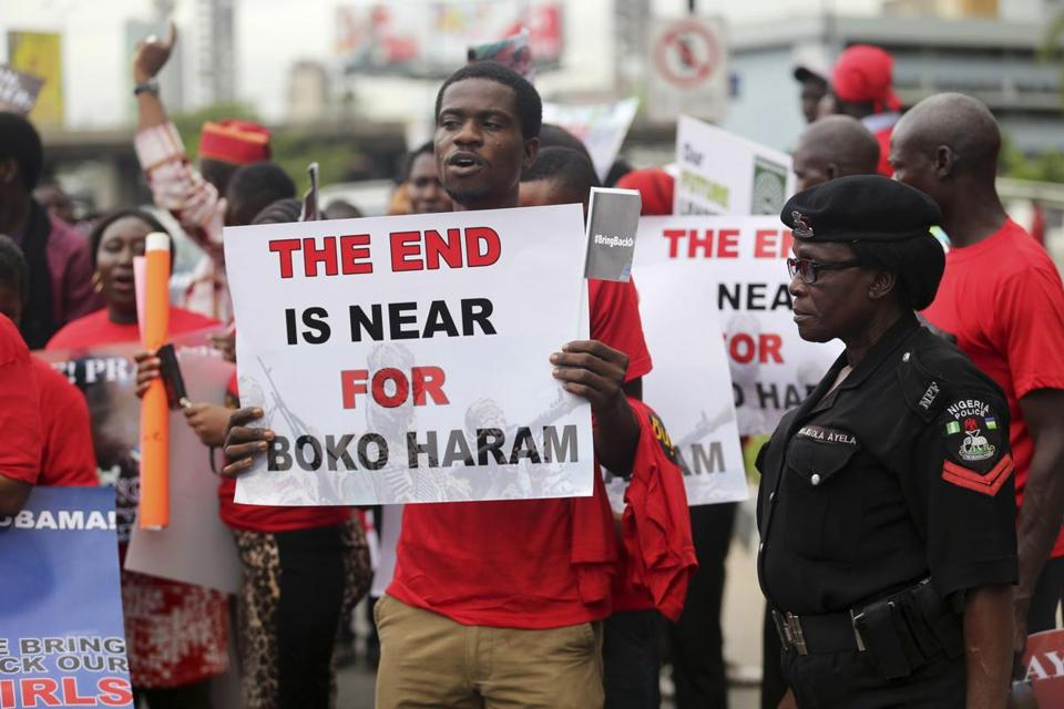 A demonstration demanding the release of the schoolgirls held by Islamic militants was held Wednesday in Lagos, Nigeria. Many such events have taken place since the abductions.