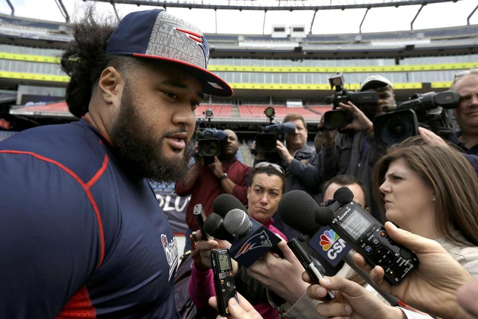 New Patriots offensive lineman Jon Halapio spoke with reporters on Tuesday.