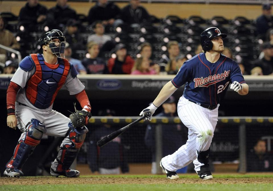 Chris Parmelee watched his two-run, game-ending home run sail away in front of Red Sox catcher A.J. Pierzynski.