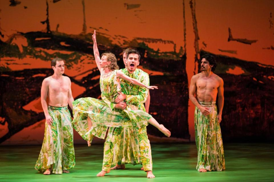 "Douglas Williams (center) and the Mark Morris Dance Company in the East Coast premiere of ""Acis and Galatea"" at the Citi Shubert Theatre."
