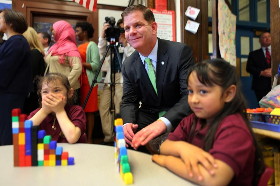 Mayor Walsh visited the Patrick J. Kennedy school. Expanding prekindergarten programs is important to both mayors.