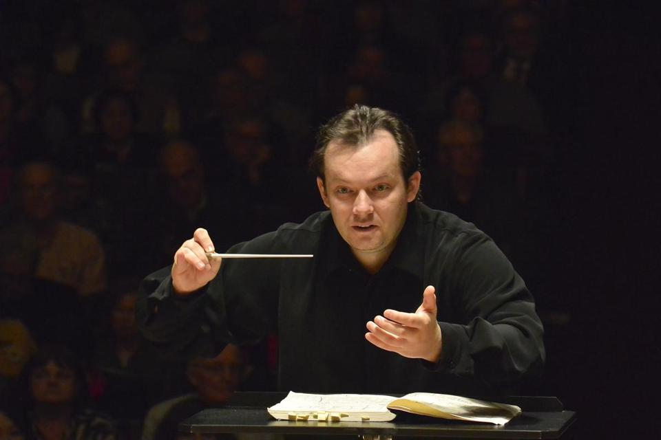 Andris Nelsons is pictured conducting the Boston Symphony Orchestra  last January at Symphony Hall.