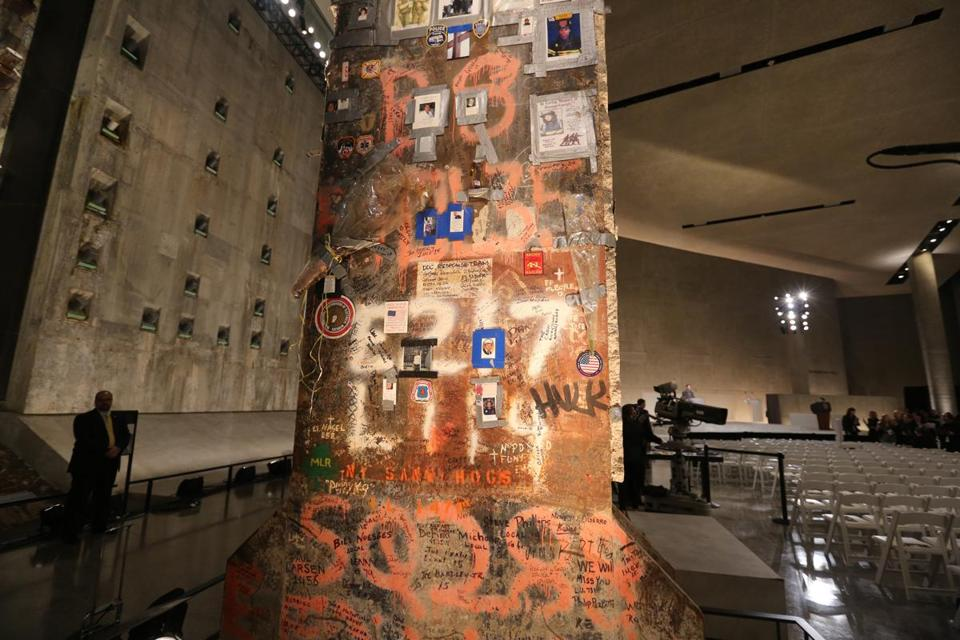 A steel beam from the World Trade Center stood at the center of Foundation Hall at the National September 11 Memorial Museum.