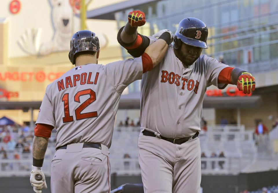 David Ortiz celebrated a solo home run with Mike Napoli in the third inning.