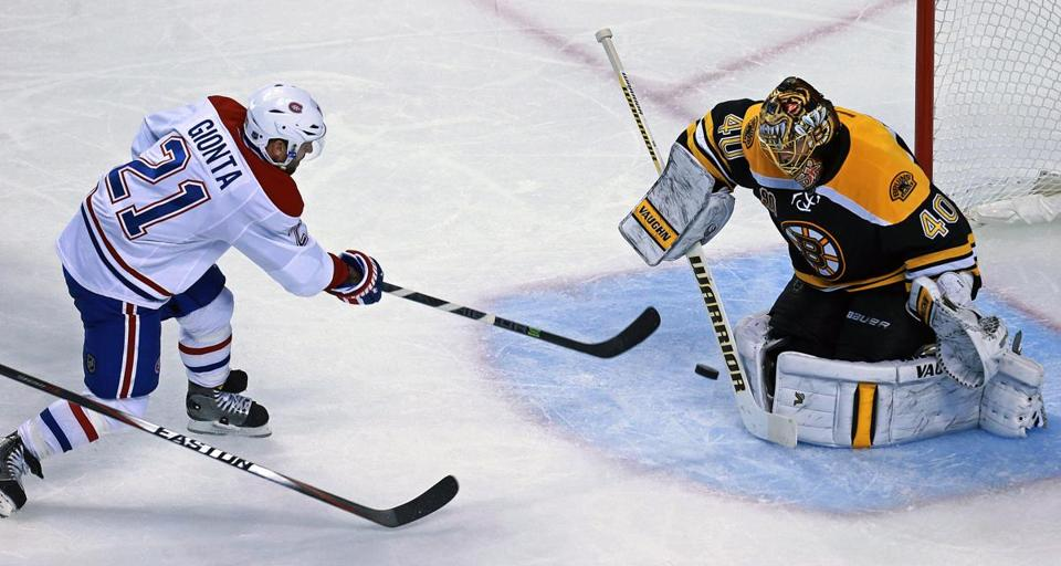 Montreal's Brian Gionta couldn't beat Bruins goalie Tuukka Rask in the second period.