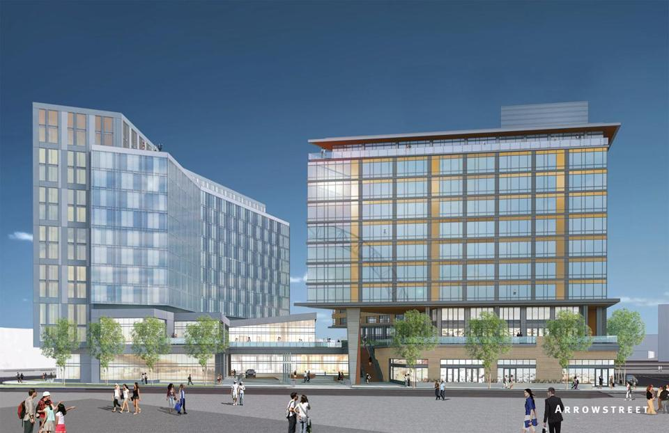 Conroy Development received the go-ahead from regulators to build a complex in Boston's Innovation District that includes a 247-room boutique hotel (left) and a 304-unit apartment building (right) that will include micro units, averaging 400 square feet.