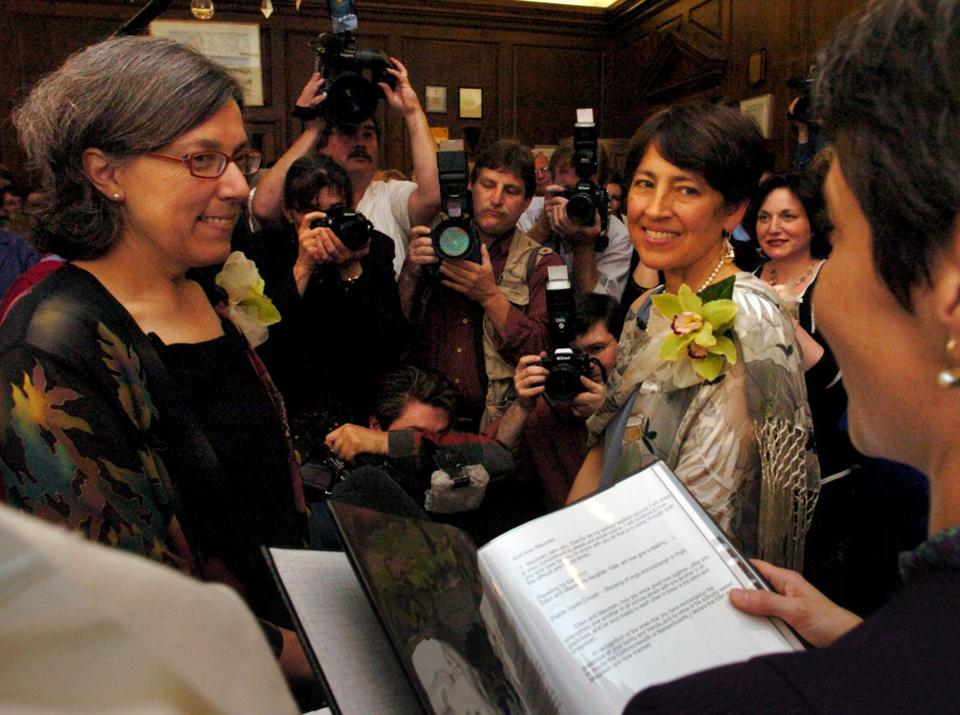 Newton's justice of the peace Gayle Smalley read the marriage vows for Maureen Brodoff  (left) and Ellen Wade.