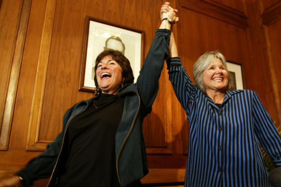 Cambridge recorded the nation's first legal gay marriage when Marcia Kadish, 56, and Tanya McCloskey, 52, of Malden were married.