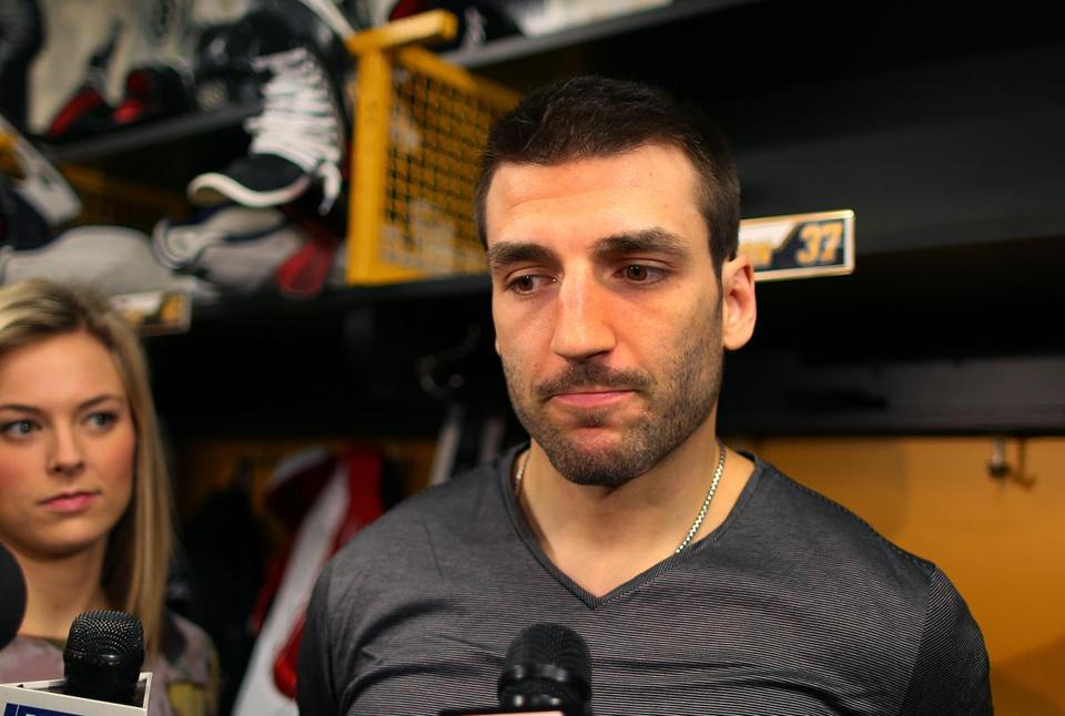 Patrice Bergeron addressed the media in the locker room. The center was a two-way monster for the Bruins this season.