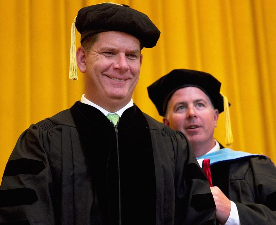 Martin Walsh was the featured speaker during commencement exercises at Benjamin Franklin Institute of Technology in Boston, Saturday, and he received an honorary degree.