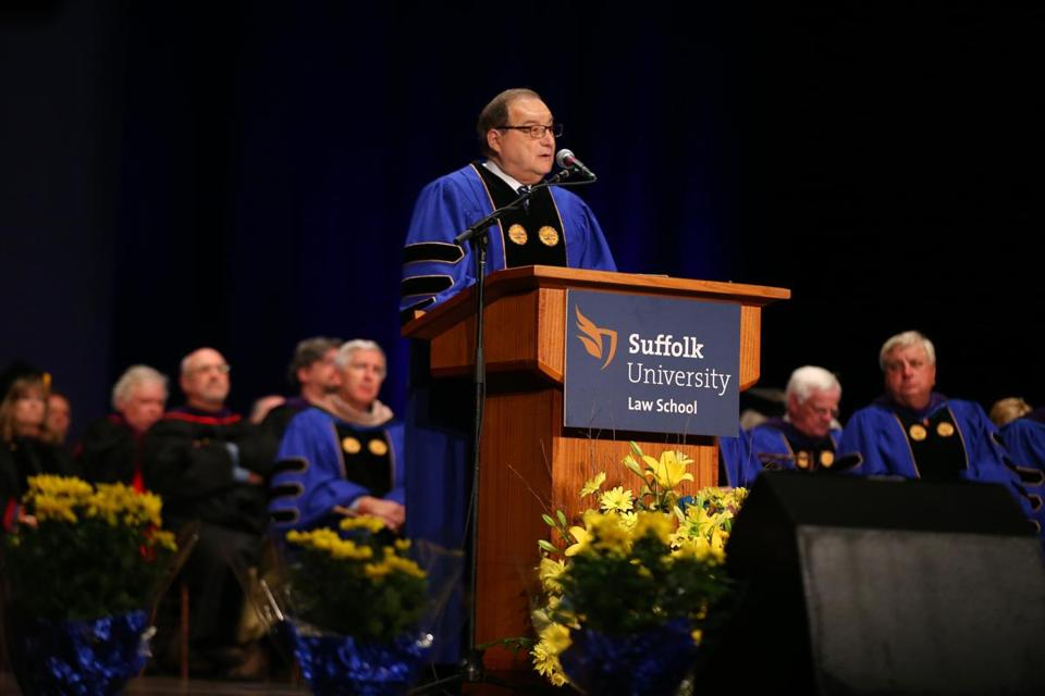 Abraham H. Foxman addresses Suffolk Law School graduates.  Globe Staff Photo/Jonathan Wiggs