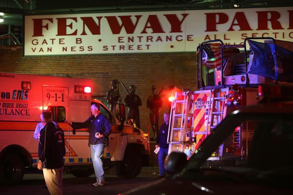First responders were on the scene at Fenway Park Friday night.