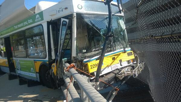 A bus crash last month left an MBTA bus dangling over the Massachusetts Turnpike in Newton.