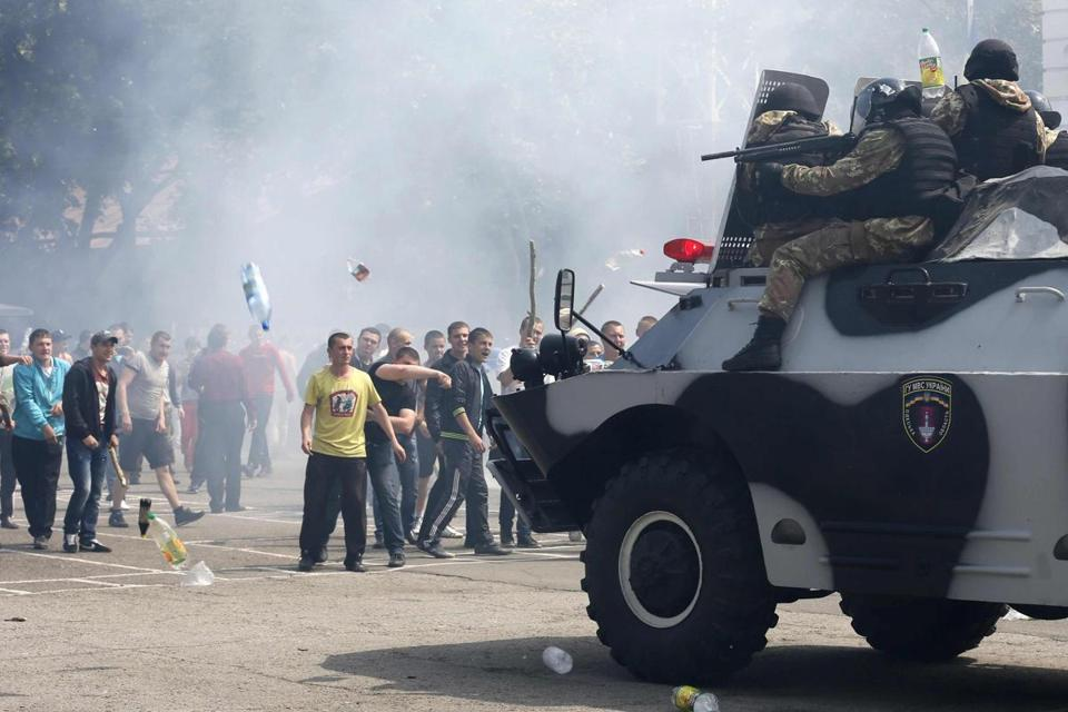 People took part in a drill conducted by members of the Interior Ministry, the National Guard, and security services to resist and prevent mass unrest in Odessa, Ukraine.