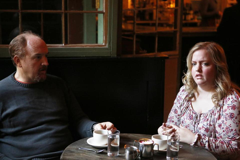 "Louis C.K. and Sarah Baker in a scene from his FX series, ""Louie."""