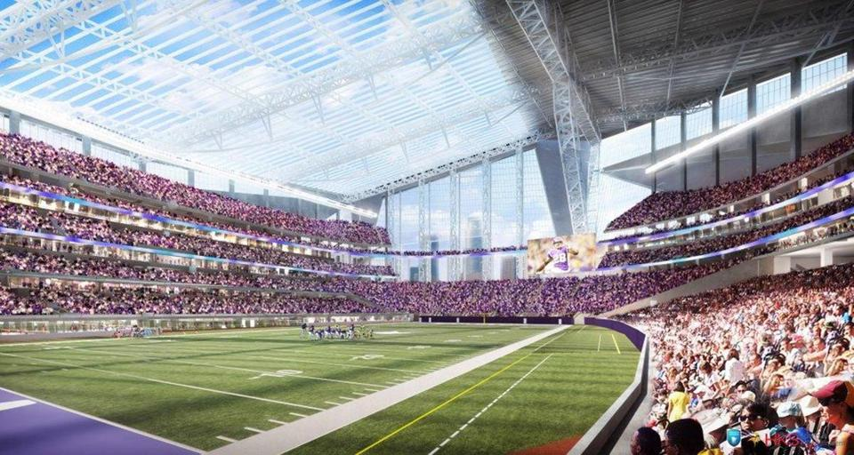An artistic rendering of the Vikings' future stadium, due to open in 2016. AP Photo