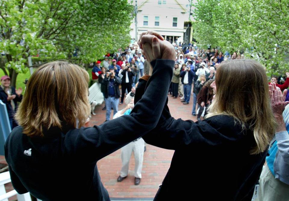 Truro residents Eileen Counihan,48, and her partner Erin Golden,45, outside Provincetown Town Hall after obtaining their marriage license May 17, 2004.