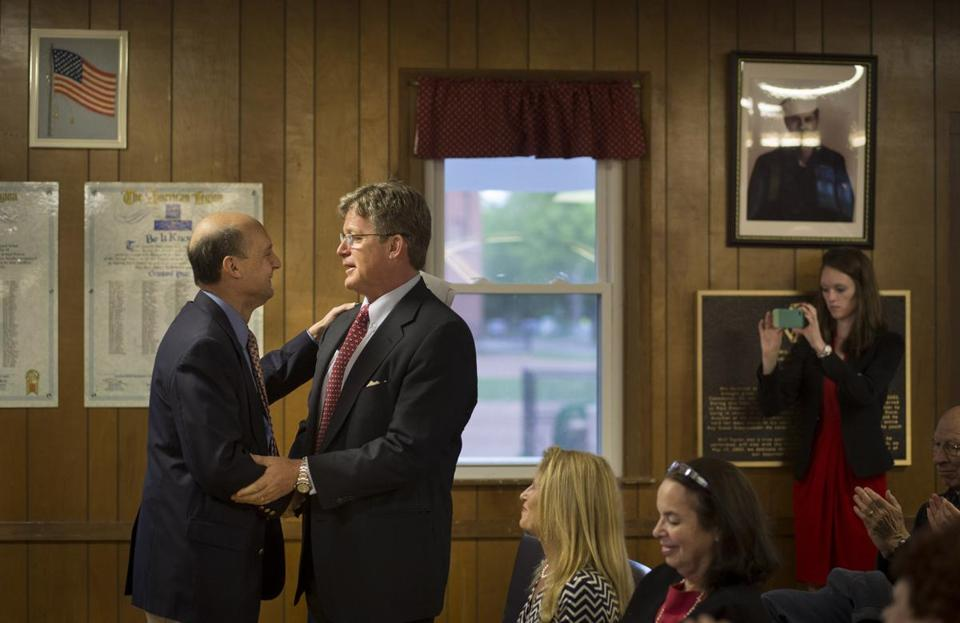 Ted Kennedy Jr. thanked Al Goldberg at the American Legion Hall in Madison.