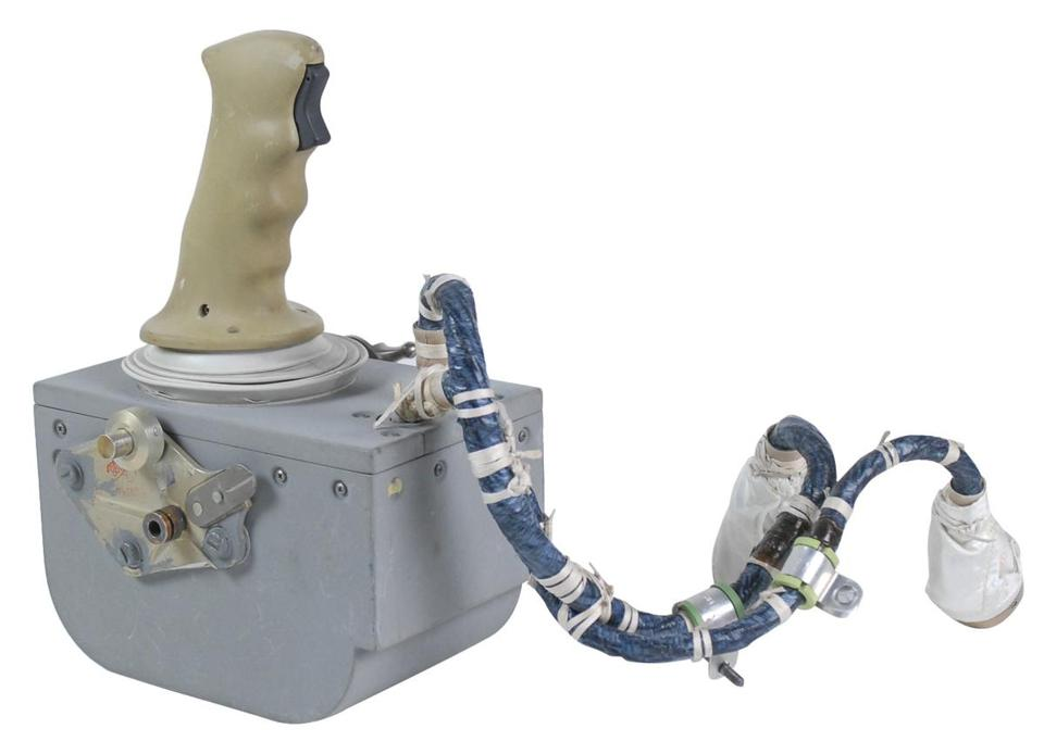A joystick used by astronaut David Scott to land on the moon in 1971.