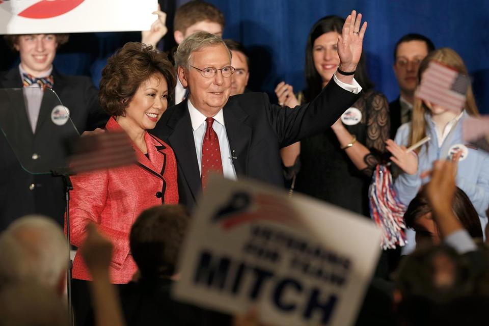 Senate GOP leader Mitch McConnell and his wife, Elaine Chao, greeted backers following his win in Kentucky's primary.