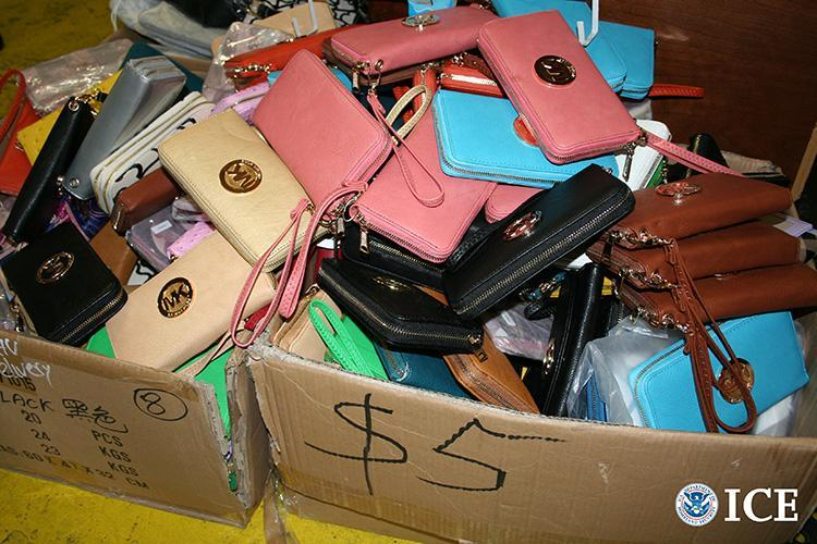 Counterfeit goods seized during the raids.