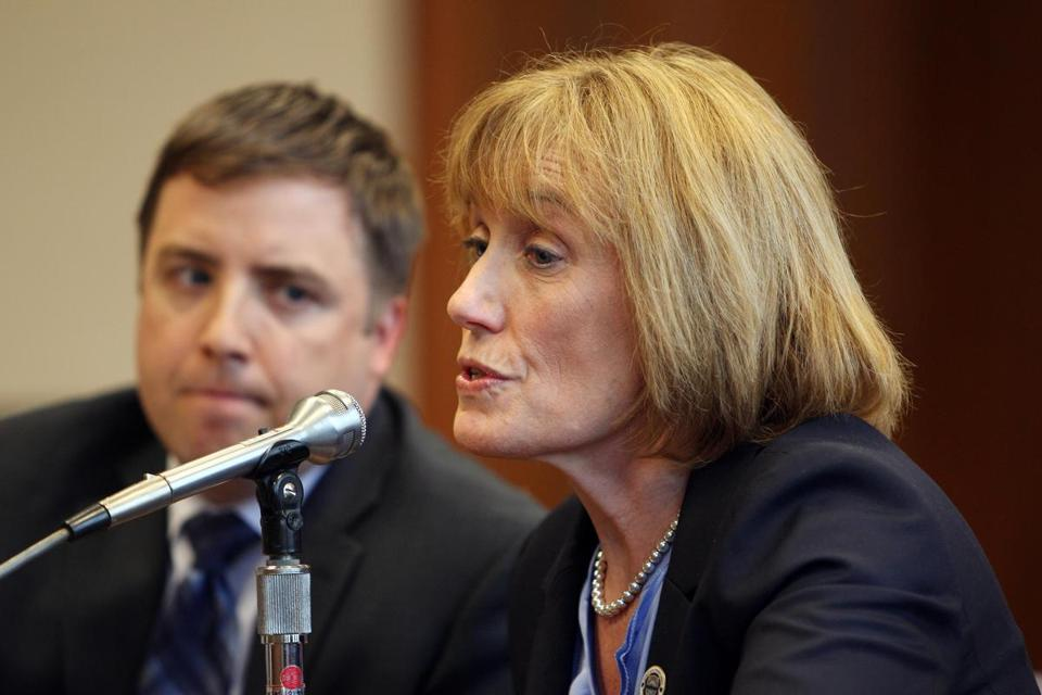 N.H. Governor Maggie Hassan (right) at a legislative committee meeting on May 21 in Concord, N.H.
