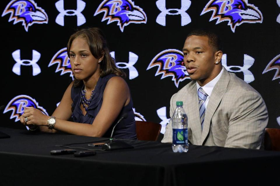 "Ray Rice, with his wife, Janay Palmer, told reporters he ""failed miserably.''"