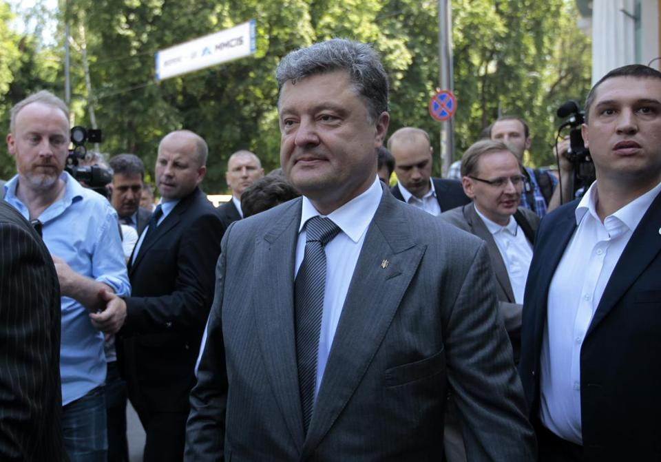 Petro Poroshenko won a majority in the first round of presidential voting in Ukraine, according to early returns.