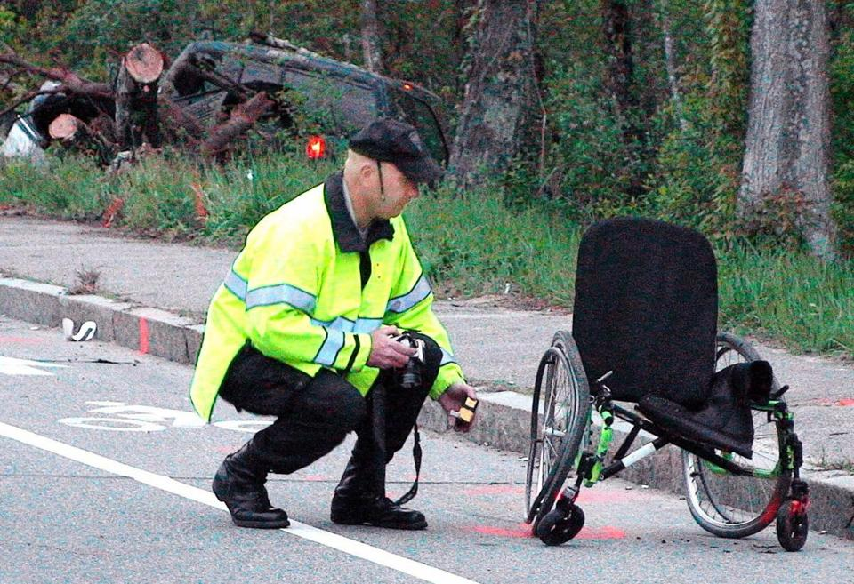 Police examined the scene of the crash and a damaged wheelchair on Onset Avenue in Wareham. John Vandeusen of Middleborough was charged with motor vehicle homicide.
