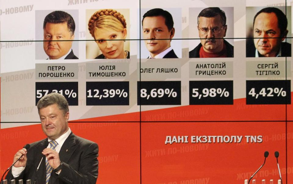 Petro Poroshenko spoke to supporters in Kiev Sunday in front of a board showing him far ahead in exit poll results.