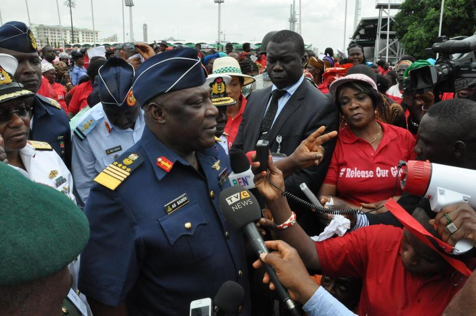 Nigeria's chief of defense staff Air Marshal Alex S. Badeh spoke during a demonstration calling on the government to rescue the kidnapped girls.