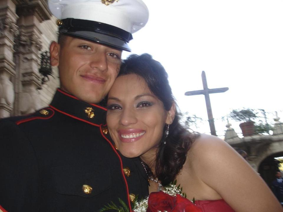 Corporal Elias Reyes Jr., who posed for this photo with his sister, Irene Kaludi, joined the Marines right out of high school.