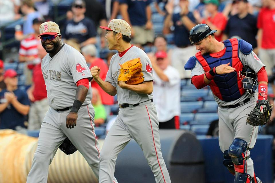 There finally was reason for smiles from David Ortiz, Koji Uehara, and A.J. Pierzynski.  Dale Zanine-USA TODAY
