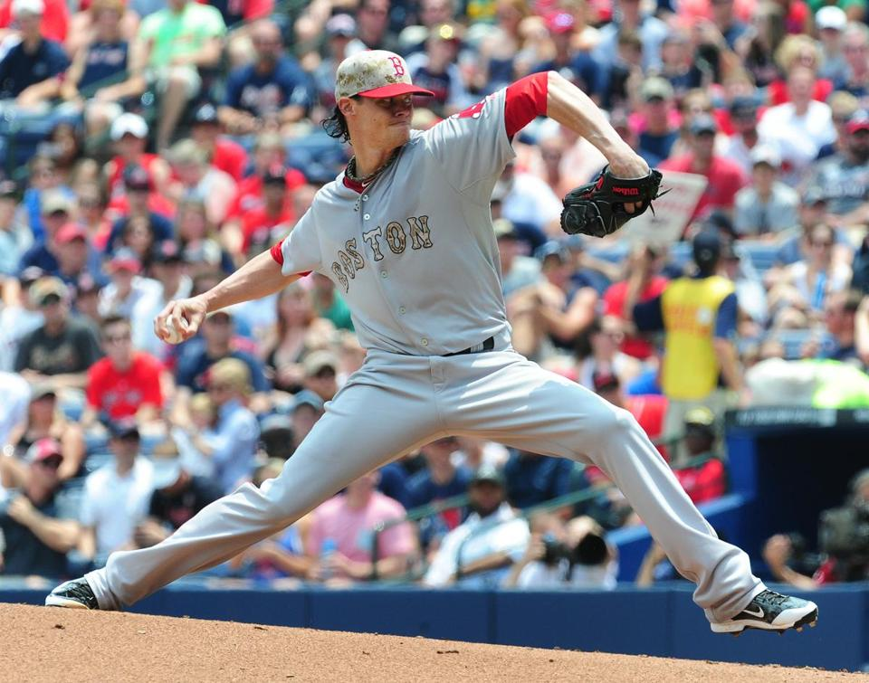 Clay Buchholz walked eight in three-plus innings of Monday's start against the Braves. Scott Cunningham/Getty Images