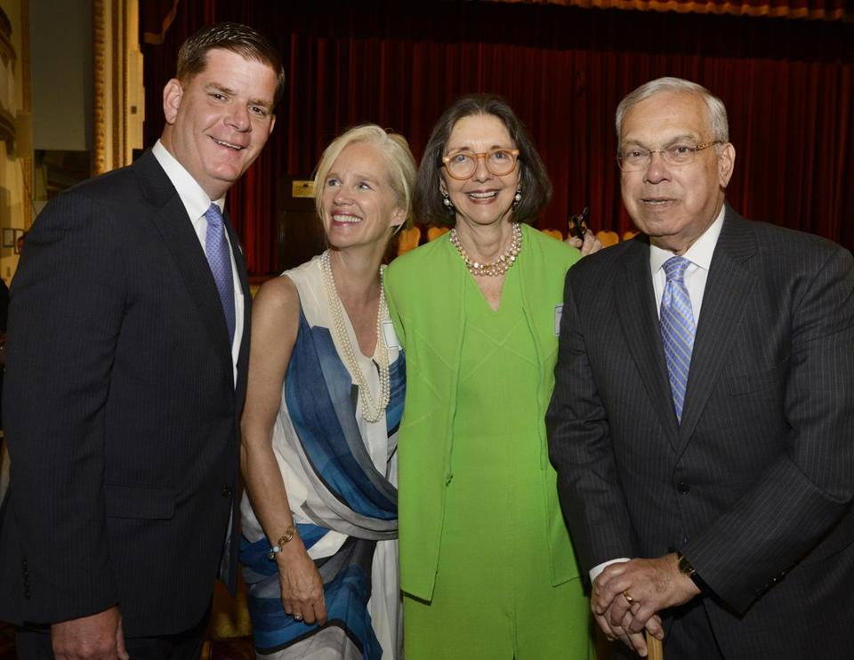 Mayor Marty Walsh, event chair Carrie Minot Bell, curriculum founder Stephanie Warburg, and former mayor Tom Menino.