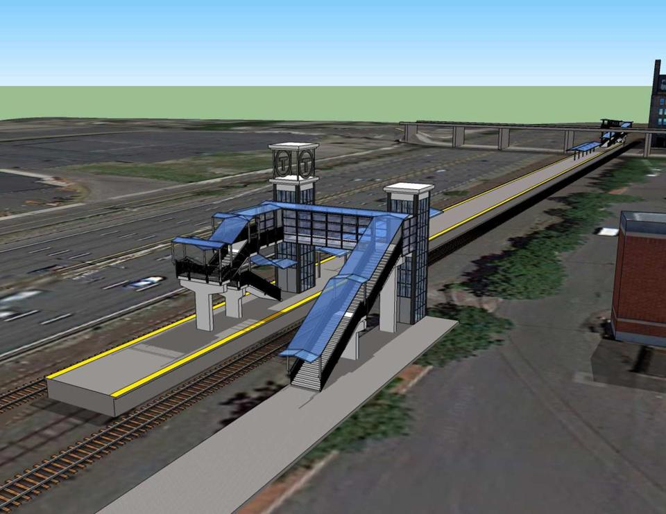 An artist's rendering of the New Boston Landing rail station, originally scheduled to open this year.