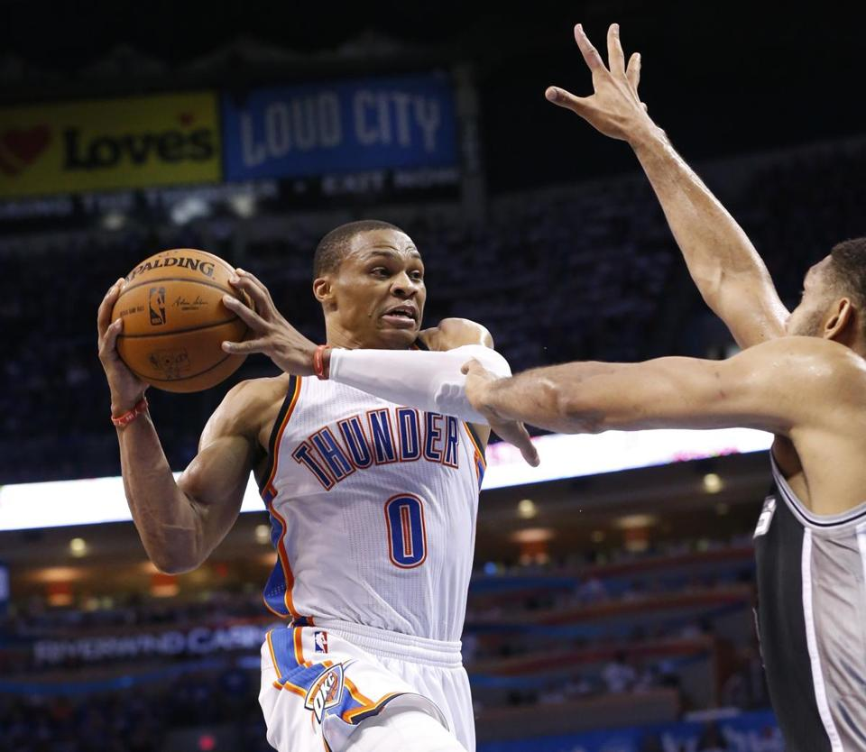 Russell Westbrook had 40 points and 10 assists to lead the Thunder over the Spurs and tie the West final at 2-2.