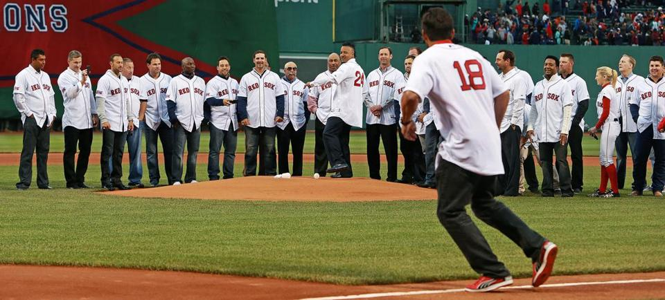 The Red Sox honored the tenth anniversary of the 2004 World Series championship team, and Manny Ramirez was chosen to throw out the ceremonial first pitch. When he did, former teammate Johnny Damon cut it off, an homage to the time Ramirez, playing left field, jumped in front of a throw from center fielder Damon.
