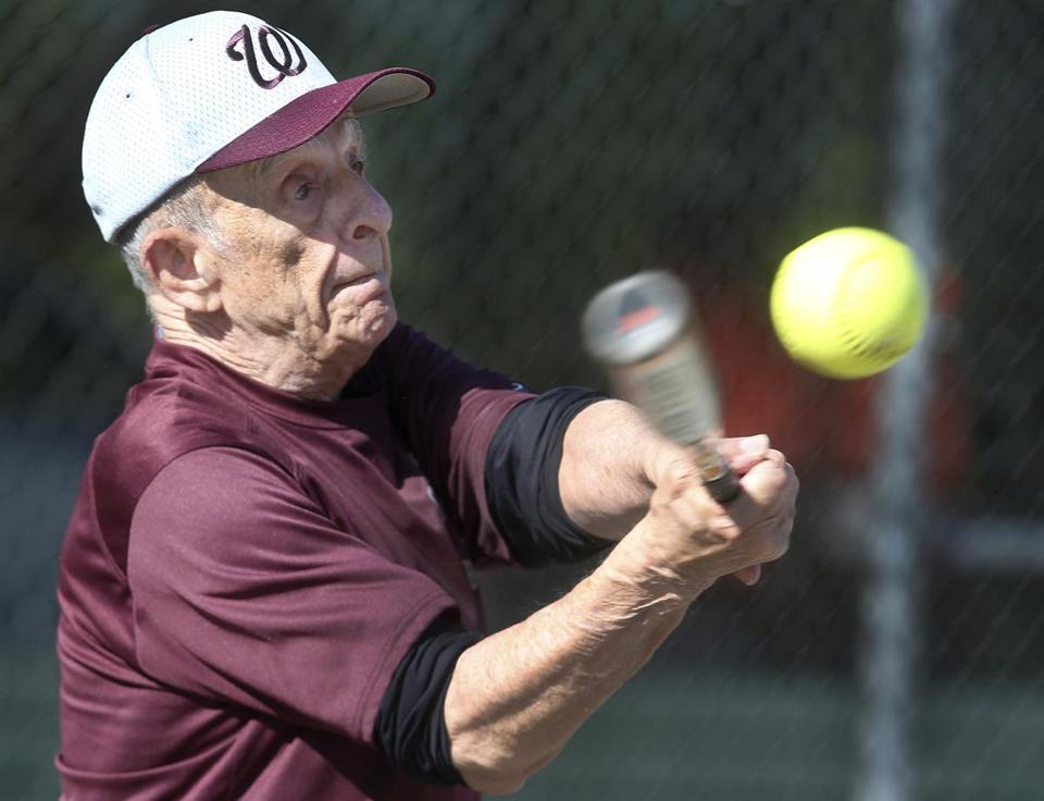 Ralph Fusaro, 82, of Worcester is right on the ball with this swing.