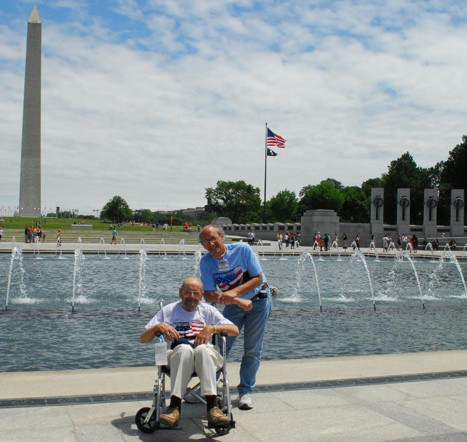 The author and his father, Everett Kandarian Jr., in Washington two years ago, courtesy of Honor Flight New England, which brings World War II veterans to the capital. The elder Kandarian served in the Coast Guard.